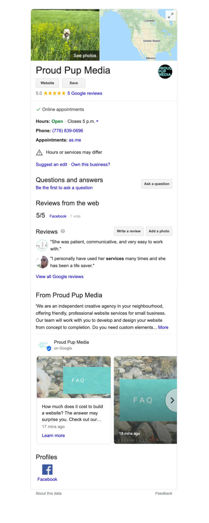 Google My Business Profile Page